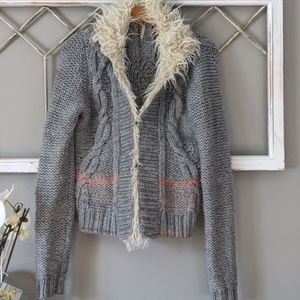 Free People North Star faux fur trim sweater cardi